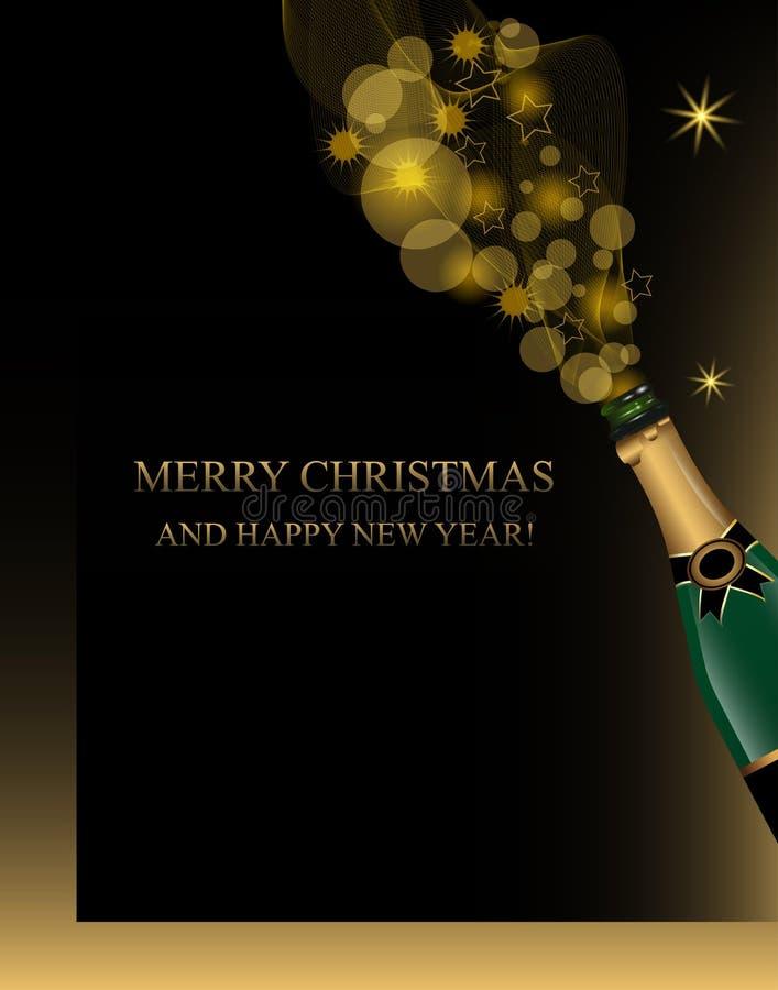 Fundo do Natal e do ano novo com garrafa do champanhe e elementos dourados do brilho da decoração Vetor ilustração stock