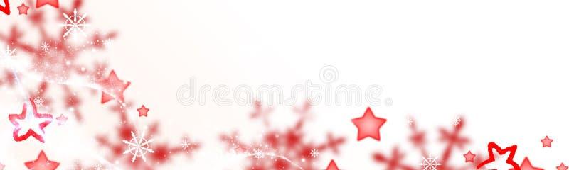 Fundo do Natal, estrelas vermelhas e cristais da neve ilustração royalty free