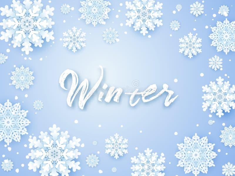 Fundo do Natal, flocos de neve brancos no cinza Quadro quadrado com decoração Projeto do molde do inverno para cartazes, insetos ilustração stock