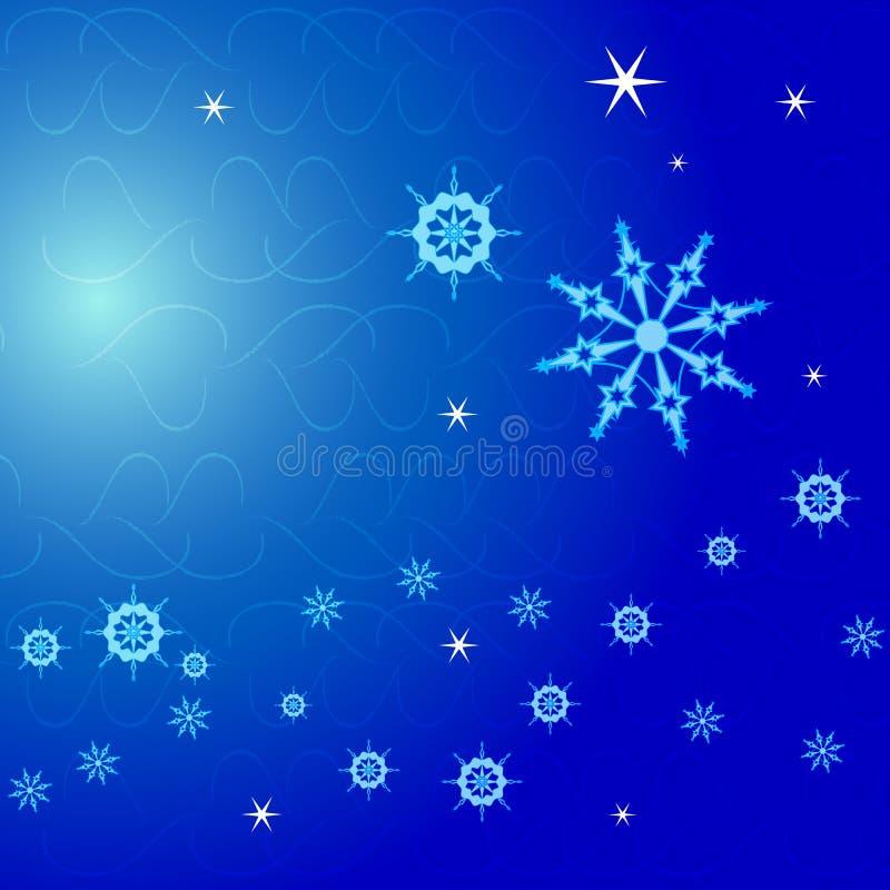 Fundo do Natal, flocos de neve no azul fotos de stock royalty free