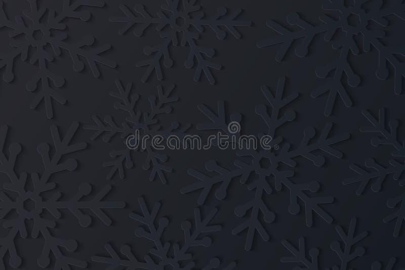 Fundo do Natal Flocos de neve pretos cortados do papel Ano novo feliz 2019 Teste padrão festivo sazonal Ilustração do vetor ilustração royalty free