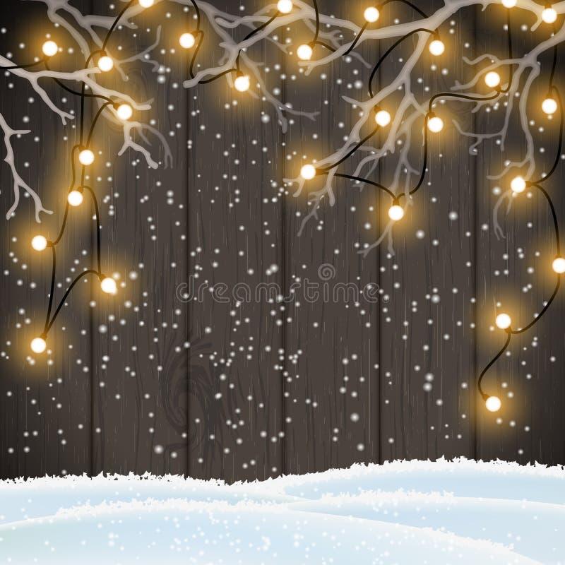Fundo do Natal, luzes amarelas na madeira escura, ilustração ilustração royalty free