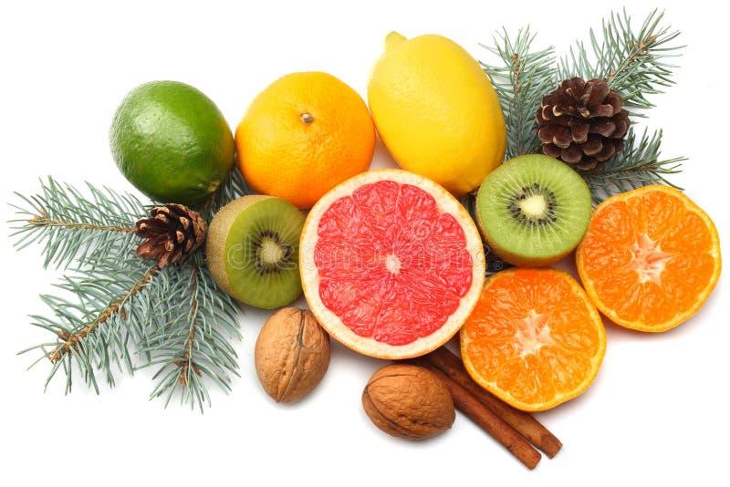 Fundo do Natal misture o limão cortado, o cal verde, a laranja, o mandarino, o fruto de quivi e a toranja com o cone e a árvore d imagens de stock royalty free