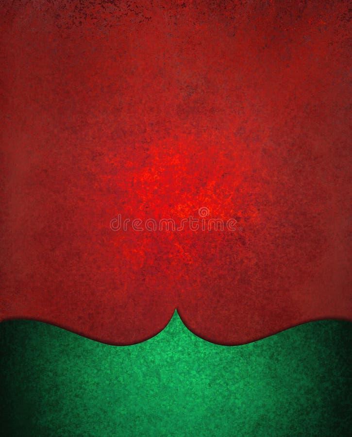 Fundo do Natal no vermelho com projeto curvado elegante verde da beira ilustração stock