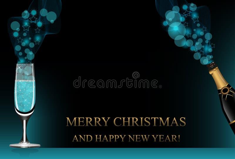Fundo do Natal ou do ano novo com garrafa do champanhe, copo de vinho e brilho azul Vetor ilustração do vetor
