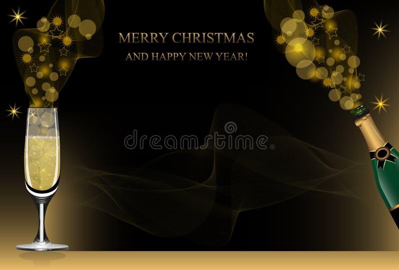 Fundo do Natal ou do ano novo com garrafa do champanhe, copo de vinho e brilho dourado Vetor ilustração stock