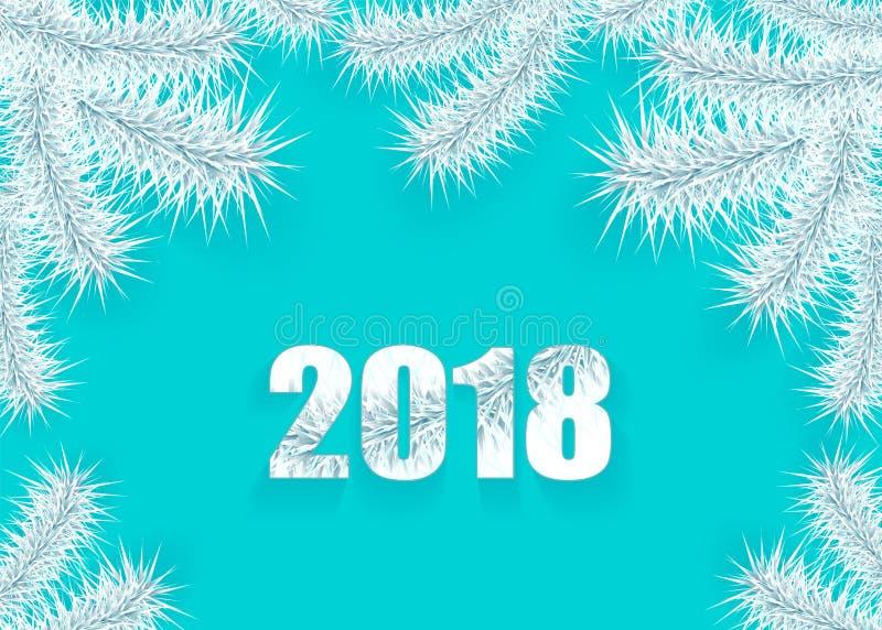 Fundo do Natal ou do ano novo com prata do ramo de árvore em ciano ilustração royalty free