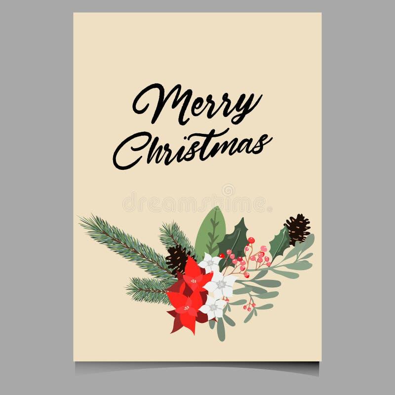 Fundo do Natal ou cumprimento do molde do cartaz com vetor dos elementos dos feriados fotos de stock royalty free