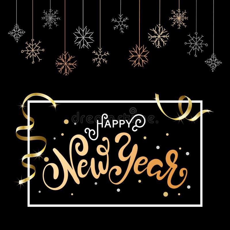 Fundo do Natal para o cartão do feriado Caligrafia do ouro que rotula o ano novo feliz ilustração royalty free