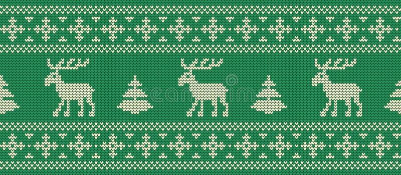 Fundo do Natal Teste padrão feito malha com cervos em um fundo verde ilustração stock