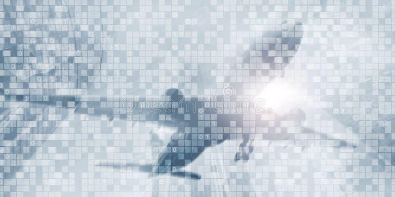 Fundo do negócio do código binário de Digitas Papel de parede futurista do sumário da matriz imagem de stock