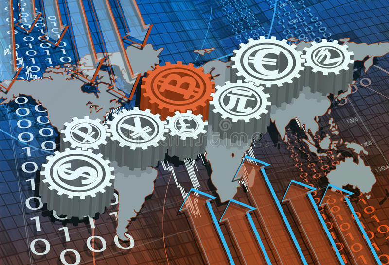 Fundo do negócio com o mapa com e os símbolos de moedas do mundo imagens de stock royalty free