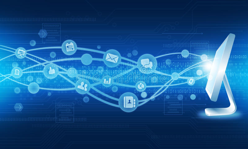 Fundo do negócio da conexão a Internet da tecnologia ilustração stock
