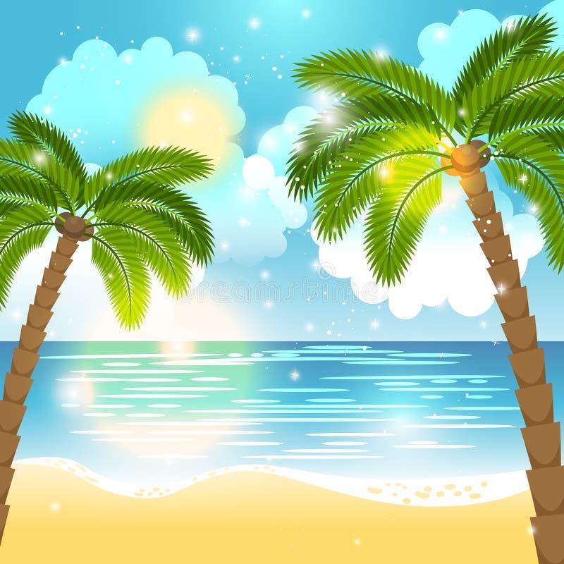 Fundo do oceano e das palmeiras ilustração do vetor