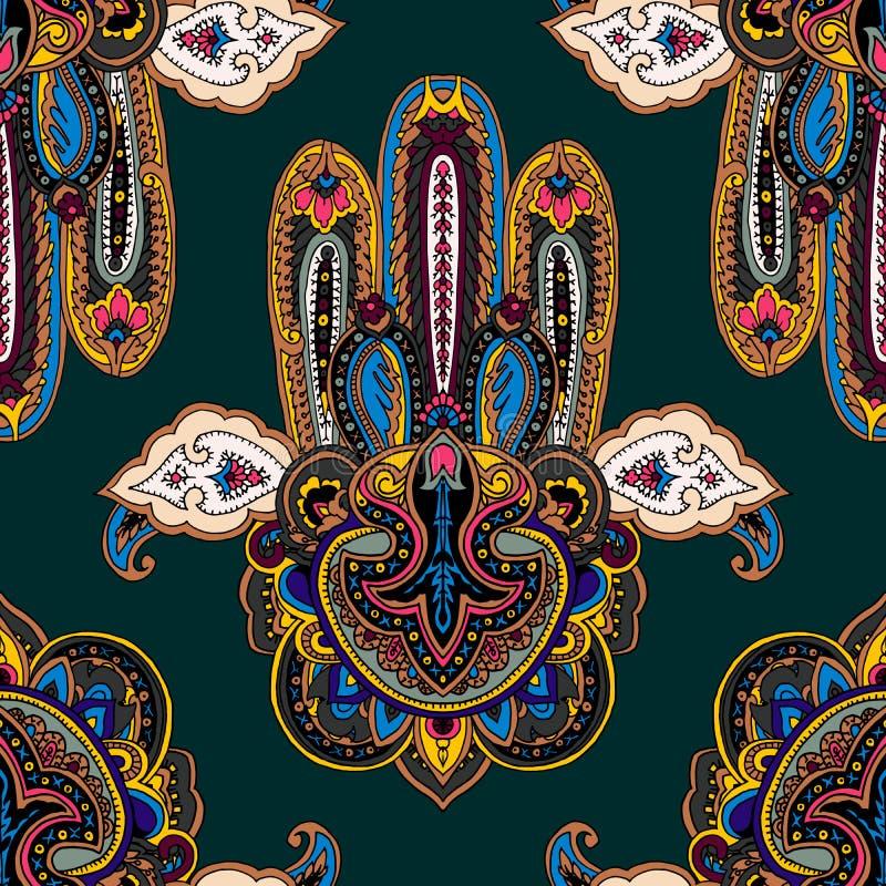Fundo do ornamento do hamsa de Paisley ilustração royalty free