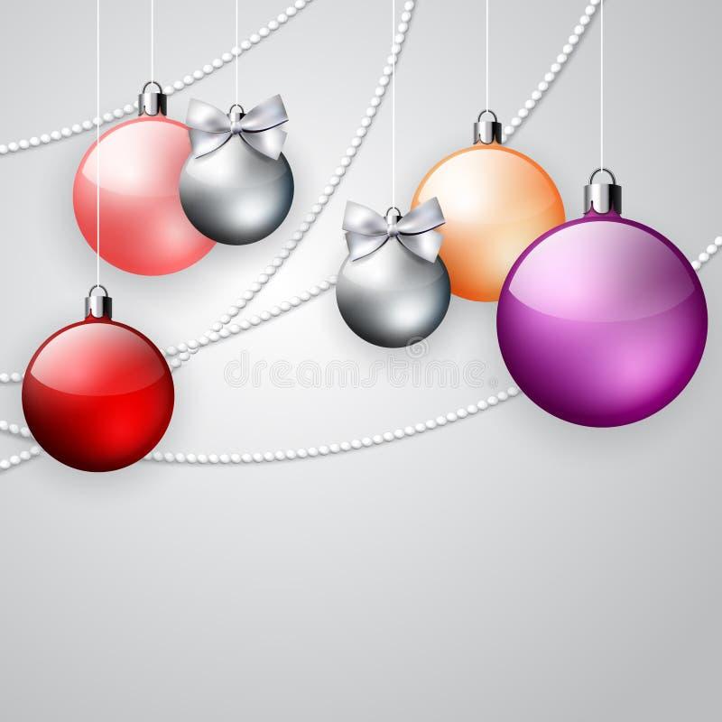Fundo do ornamento do Natal com as bolas vermelhas e roxas ilustração royalty free
