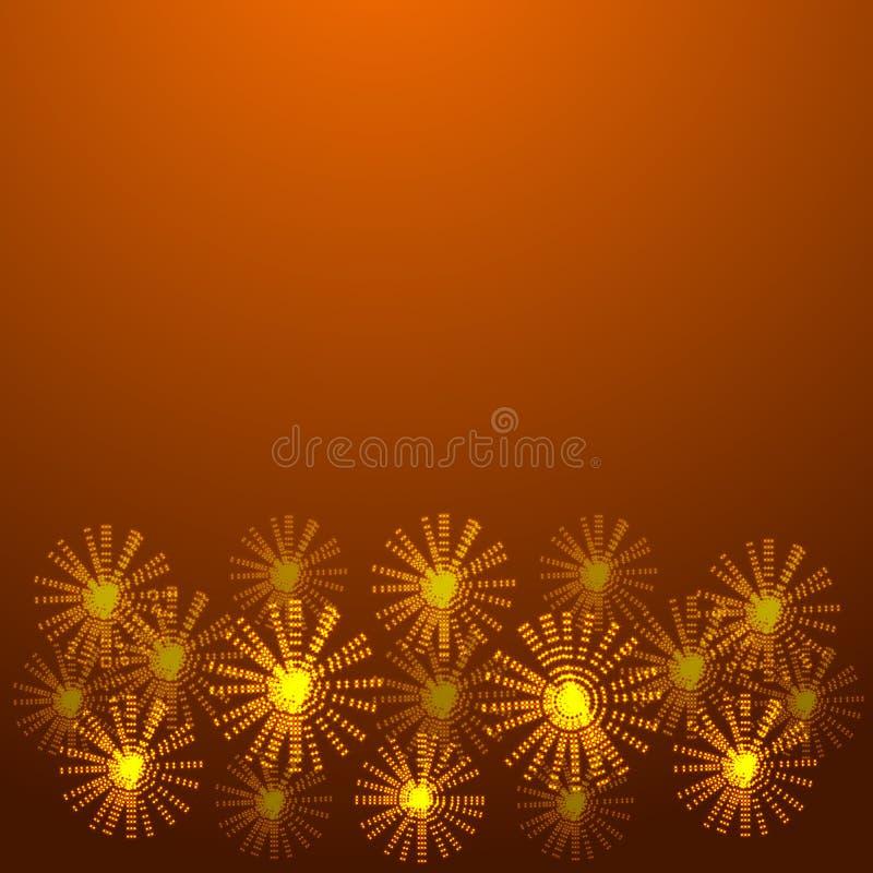 Fundo do ouro com flores de incandescência Ilustração ilustração do vetor