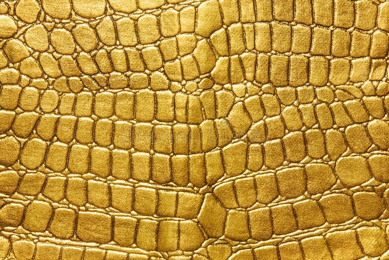 Fundo do ouro fundo do teste padrão da armadura do lagarto do ouro Pele amarela ou dourada do crocodilo Para artigos luxuosos imagem de stock