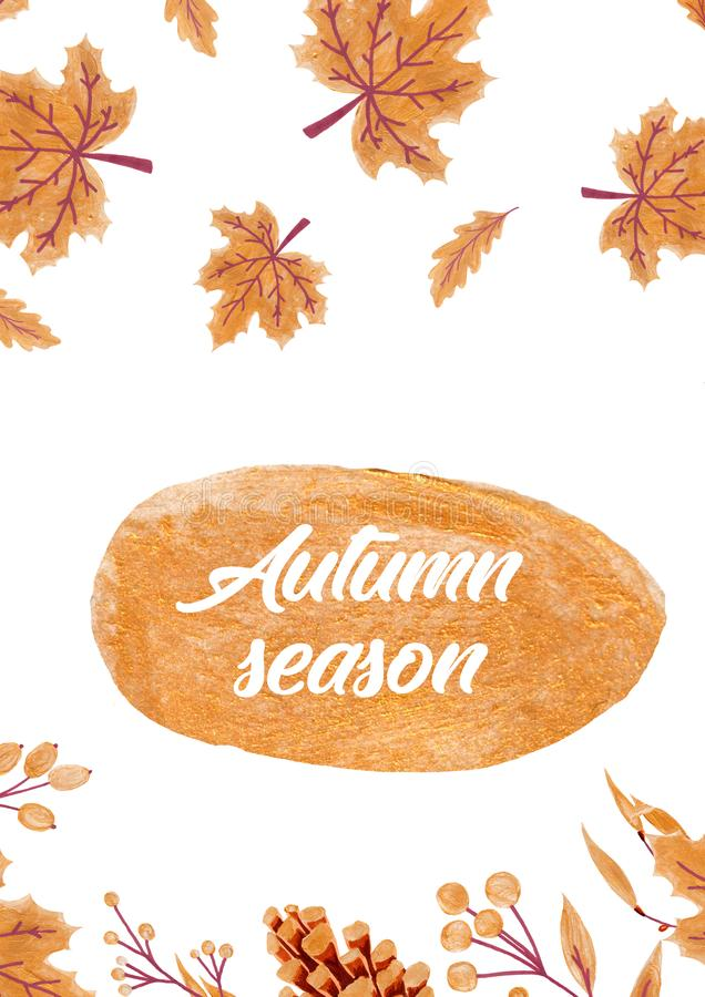 Fundo do outono com as folhas douradas do bordo e do carvalho ilustração de papel fotos de stock royalty free