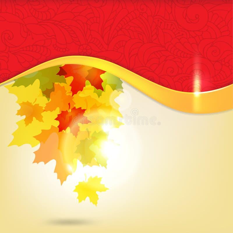 Fundo do outono com folhas ilustração royalty free