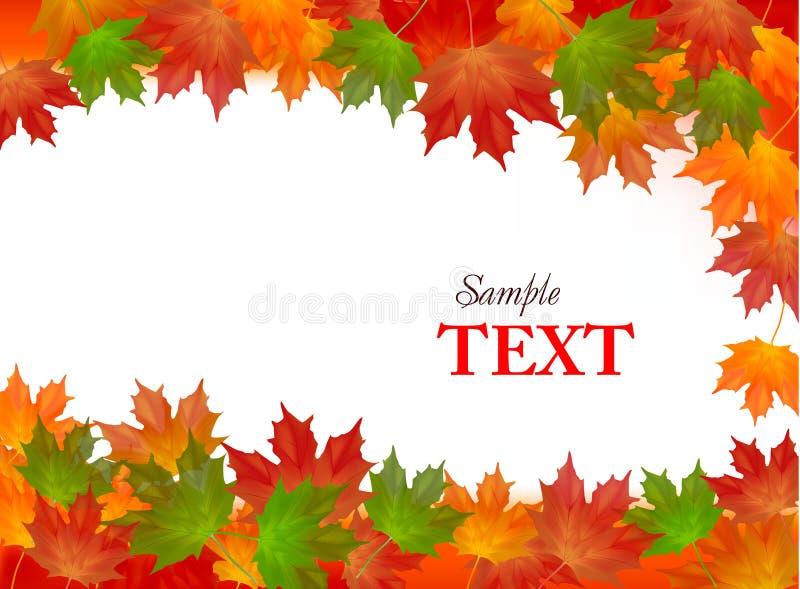 Fundo do outono com folhas coloridas. Vetor. ilustração stock