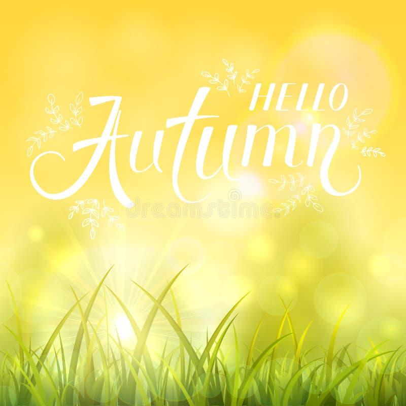 Fundo do outono com grama e o sol shinning ilustração do vetor