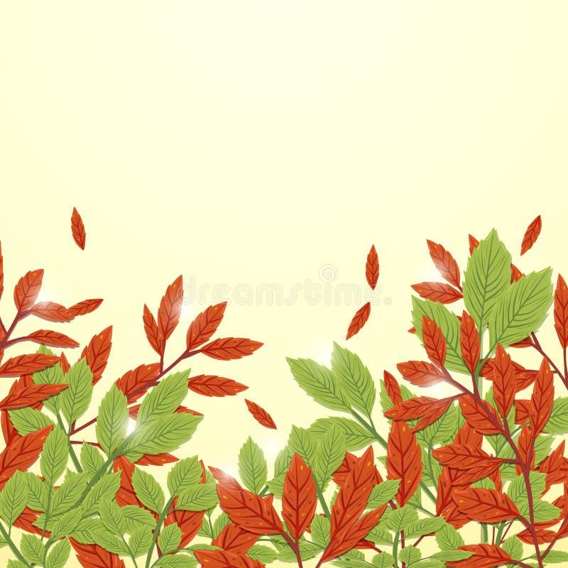 Fundo do outono das folhas do vermelho e do verde Estilo do desenho a mão livre ilustração stock