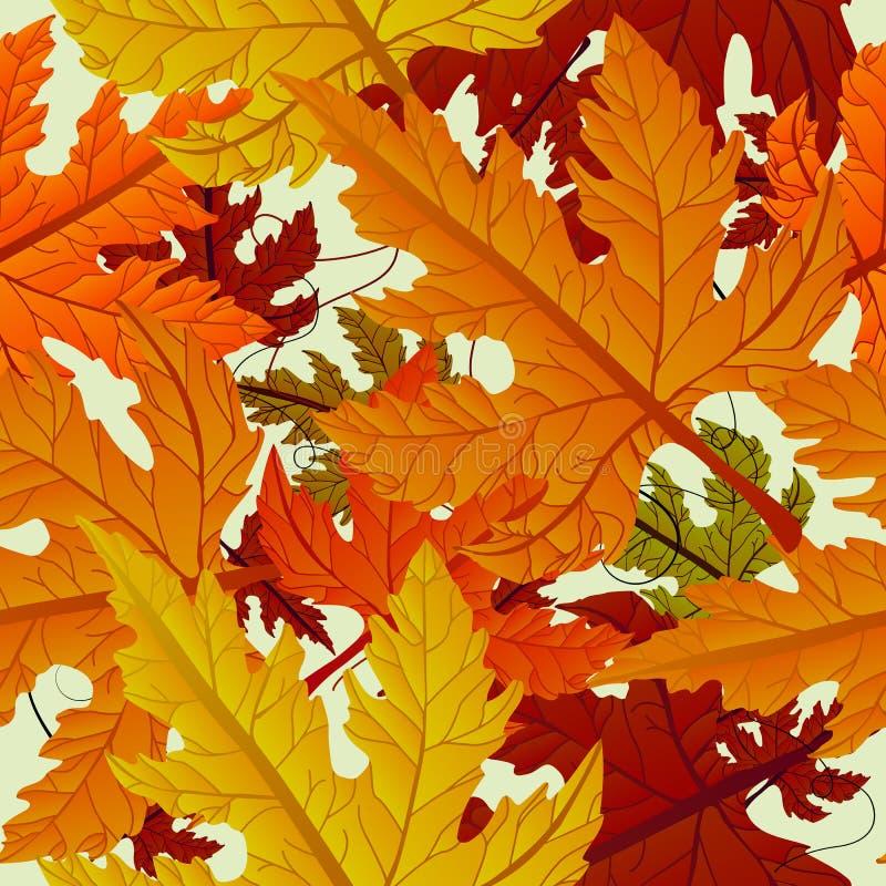 Fundo do outono, telha sem emenda com folhas de plátano ilustração do vetor