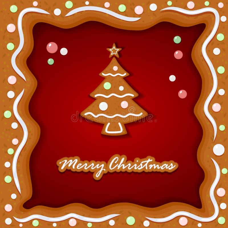 Fundo do pão-de-espécie com árvore de Natal ilustração do vetor
