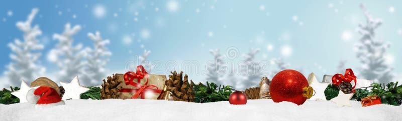 Fundo do panorama da bandeira do Natal foto de stock
