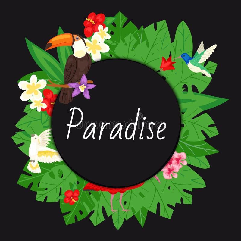 Fundo do para?so Projeto da praia, ilustração do vetor da bandeira da selva A palmeira tropical sae com as flores brilhantes ilustração do vetor