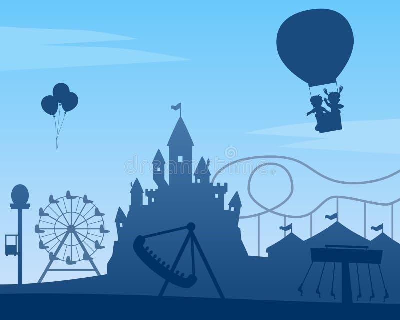 Fundo do parque de diversões ilustração royalty free