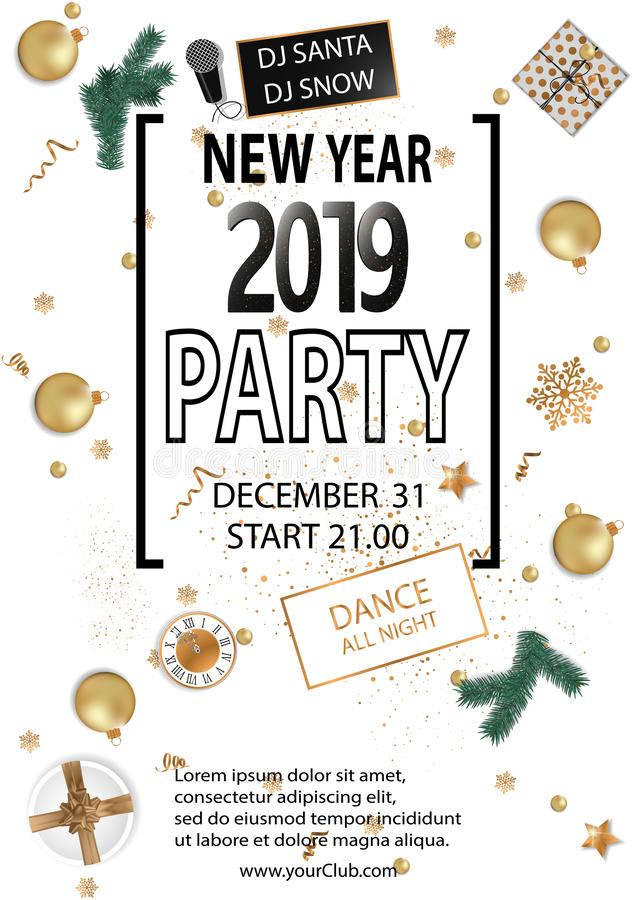 Fundo do partido do ano 2019 novo feliz para seus insetos e cartão de cumprimentos sazonais ilustração stock