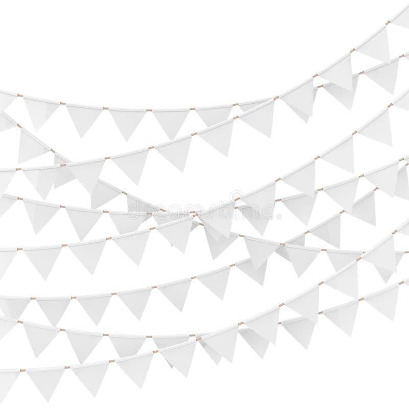 Fundo do partido com as bandeiras brancas da estamenha e das festões rendição 3d ilustração do vetor