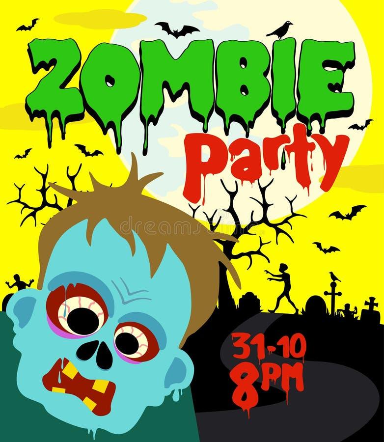 Fundo do partido de Dia das Bruxas com zombi ilustração royalty free