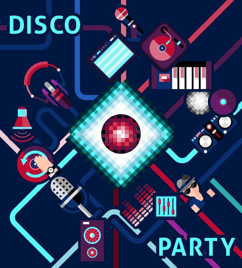 Fundo do partido de disco ilustração royalty free