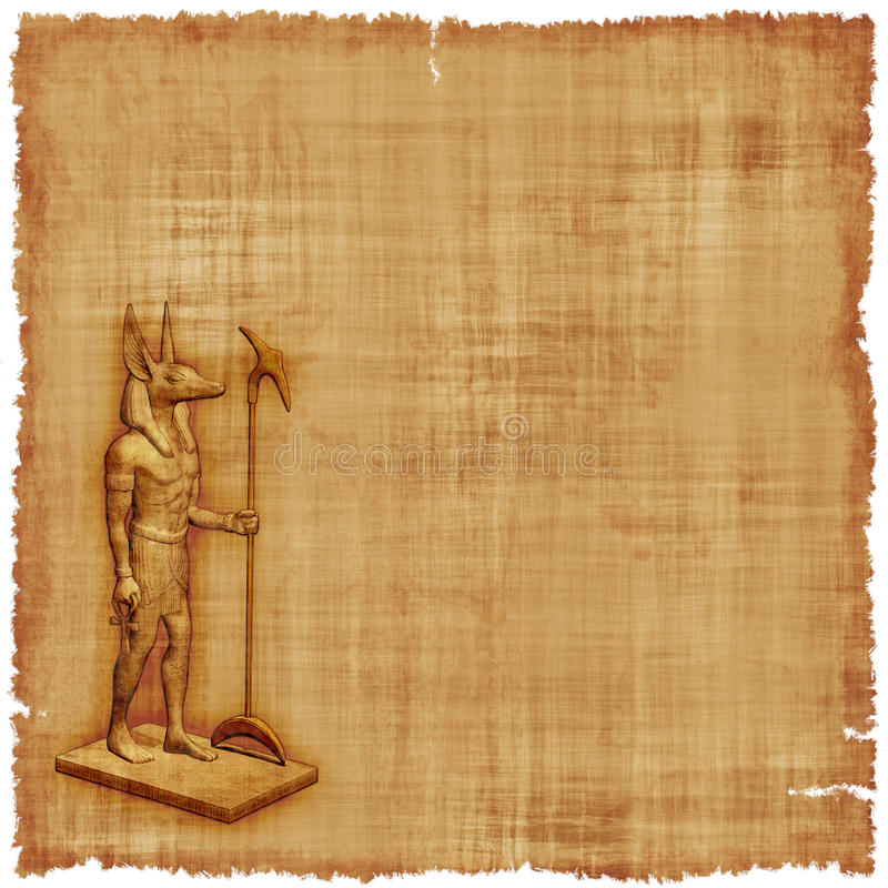 Fundo do pergaminho de Anubis ilustração royalty free