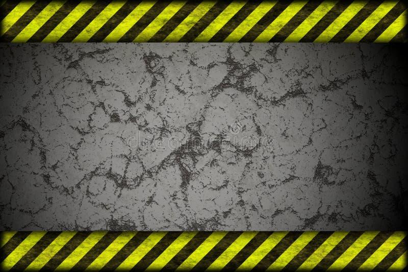 Fundo do perigo. linhas de advertência, preto e amarelo. ilustração do vetor