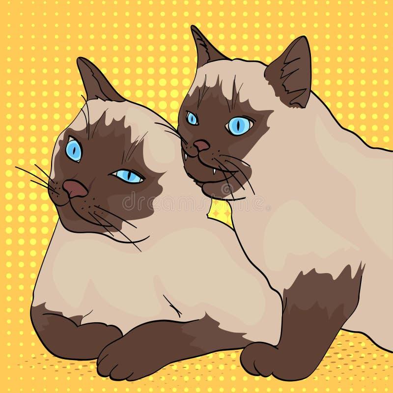 Fundo do pop art Dois gatos, as mordidas animais as outro Raça Siberian, cor Neva Masquerade ou Siamese Estilo cómico ilustração stock
