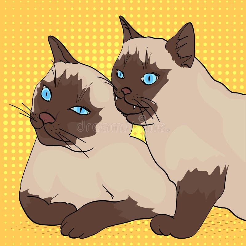 Fundo do pop art Dois gatos, as mordidas animais as outro Ra?a Siberian, cor Neva Masquerade ou Siamese Estilo c?mico ilustração do vetor