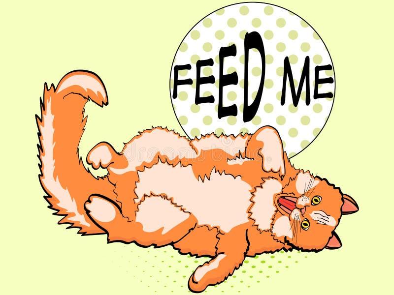Fundo do pop art, gato vermelho encontrando-se sobre traseiro e mostrando o dedo na boca Escreva-me à alimentação Vetor, estilo c ilustração royalty free
