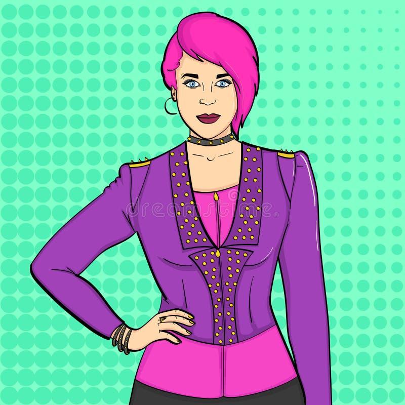 Fundo do pop art Subcultura punk da moça, balancins Stich cômico de imitação Vetor ilustração stock