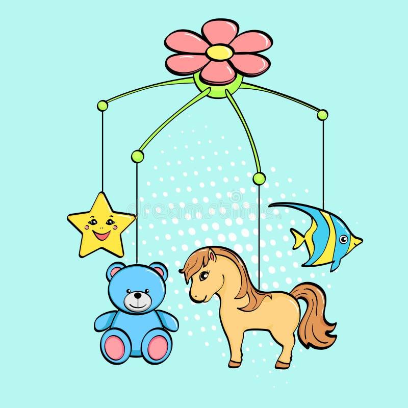 Fundo do pop art Um brinquedo musical sobre um berço para uma criança Os assuntos são cavalo, flor, estrela, urso e peixes Vetor ilustração stock