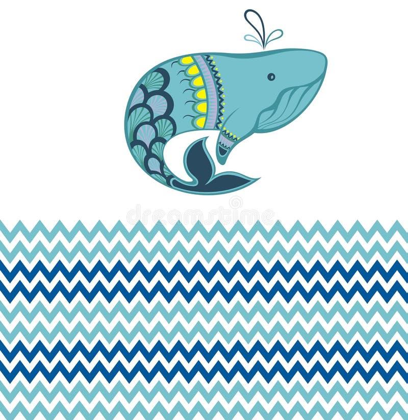 Fundo do porto do verão com baleia ilustração do vetor