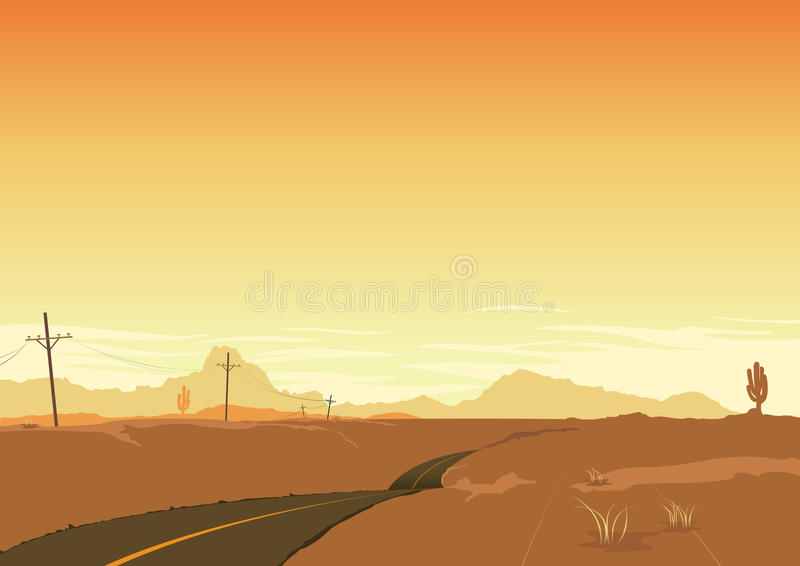 Fundo do poster da paisagem do deserto do verão ilustração do vetor
