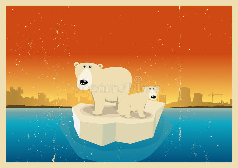 Fundo do poster das conseqüências do aquecimento global ilustração royalty free