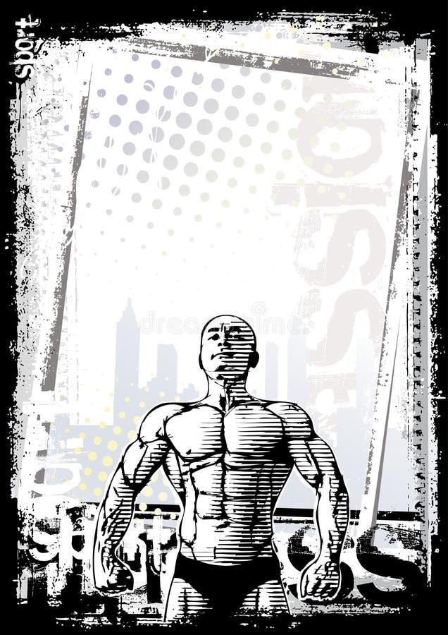 Fundo do poster do Bodybuilder ilustração stock