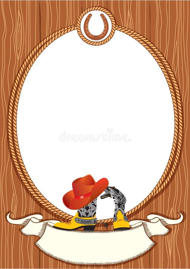 Fundo do poster do cowboy ilustração royalty free