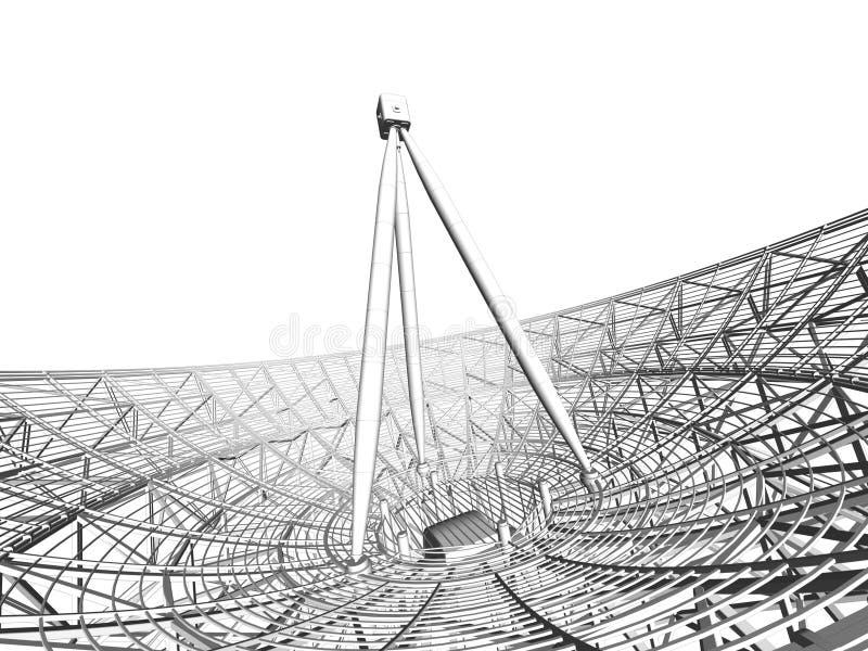Fundo do prato satélite. Antena de uma comunicação. ilustração stock
