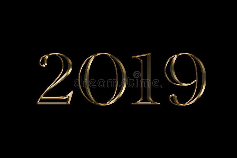 Fundo do preto do ano 2019 novo feliz Projeto do texto do ouro Ilustração de cumprimento escura com números dourados O melhor tex imagem de stock royalty free